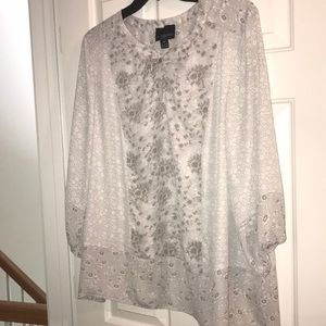 Cynthia Fowler grey and white floral blouse